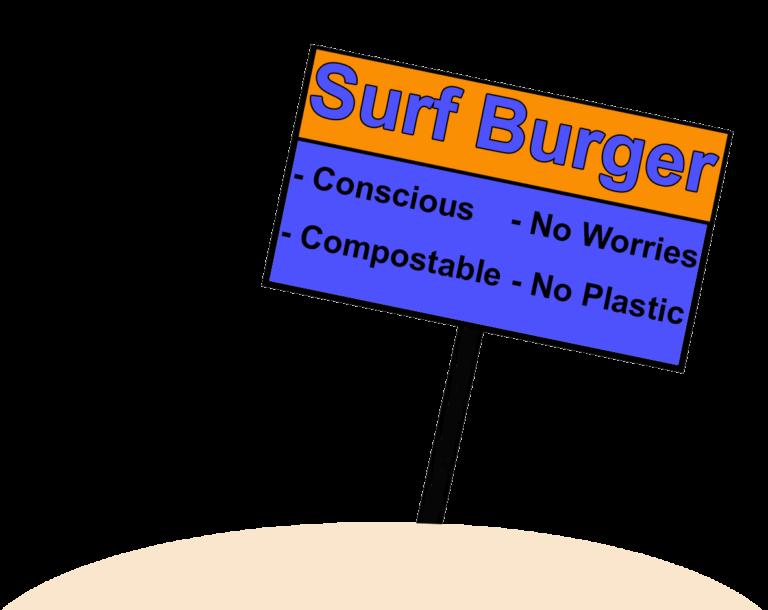Surf burger sign